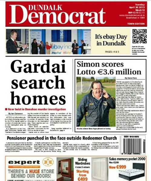 The front page of this week's Dundalk Democrat
