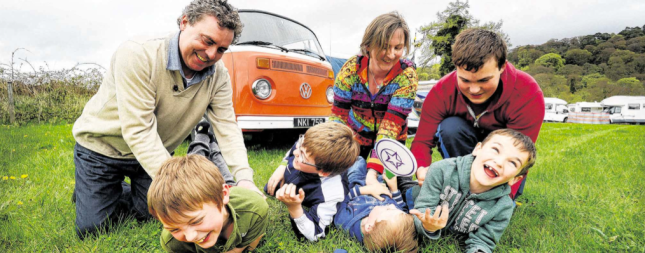 Paul and Emer O'Brien with their sons Edward, Michael, Vincent and Calvin and nephew Adam Carroll after setting up camp in their restored 1973 VW Microbus at the Vantastival music festival in Bellurgan Park last year