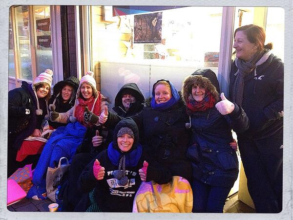 Some of the crowd who camped outside News & Deli for Garth Brooks tickets in January