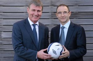 Dundalk manager Stephen Kenny with Ireland boss Martin O'Neill