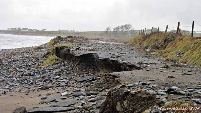 What was left of the main Whitestown to Ballagan coast road on the Cooley peninsula following a storm last year.