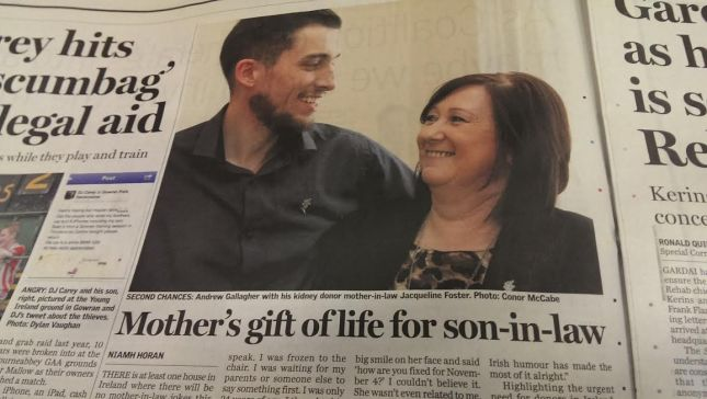 Andrew Gallagher and his mother-in-law Jacqueline Foster had their story featured in yesterday's Sunday Independent