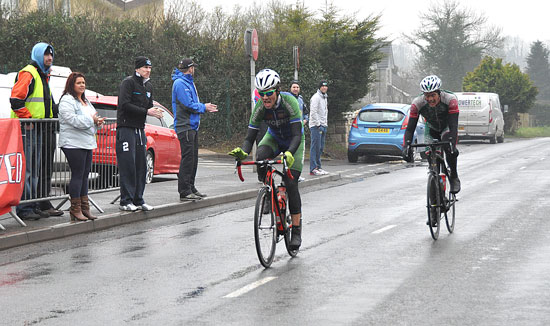 Cuchulainn's Liam Dolan (right) was just pipped to the finish line by Belfast rider Mark Millar on Saturday