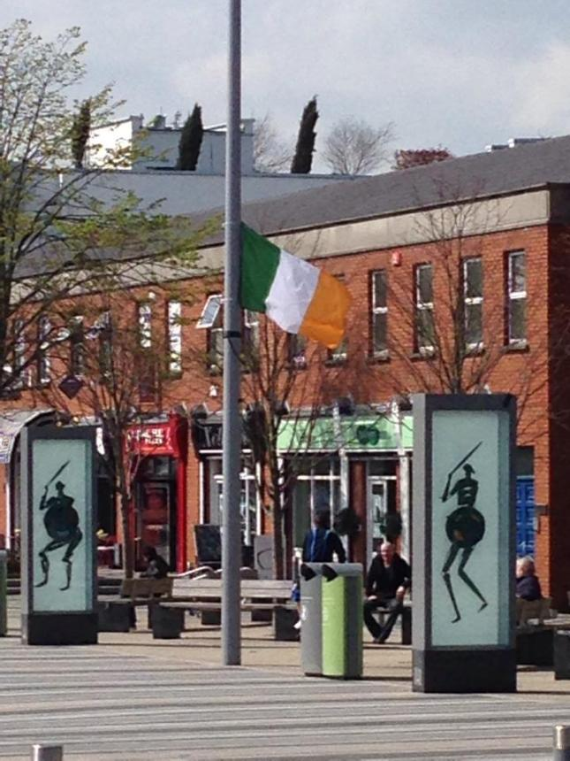 One of the tricolours flying in the Market Square. Picture: Cllr Tomás Sharkey