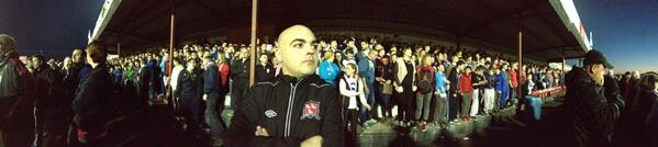 Dundalk supporter David Lennon looks on at Oriel Park last night in front of a packed Shed. Picture: Jason McGee
