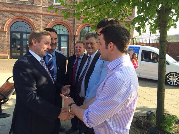 Taoiseach Enda Kenny, alongside local TD Peter Fitzpatrick, greets local election candidates John McGahon, Cllr Martin Murnaghan, Paddy Malone and Cllr Linus English outsides the Marshes Shopping Centre yesterday