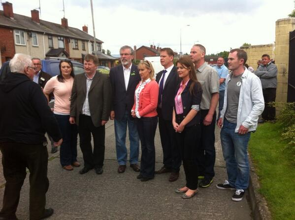 Some of the victorious Sinn Féin team at the count centre on Saturday with party leader and local TD Gerry Adams