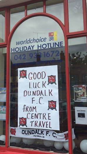 Centre Travel's window supporting Dundalk FC