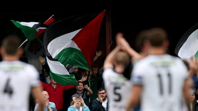 The Palestinian flag being waved at Oriel Park