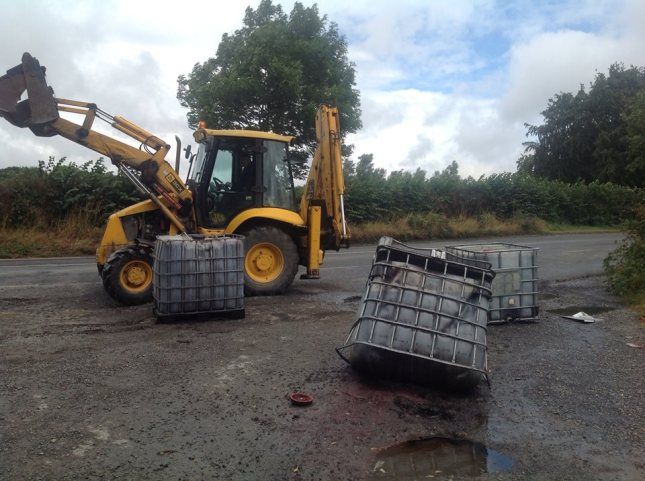 The toxic diesel sludge being removed from Stephenstown Pond in Knockbridge on Saturday