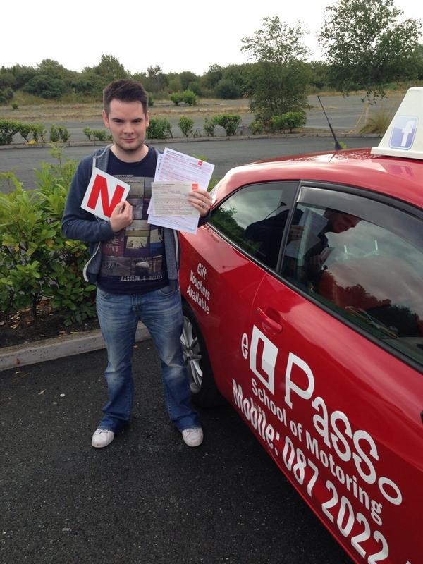Barry Kerr with his new 'N' plate after passing his driving test on the first attempt today