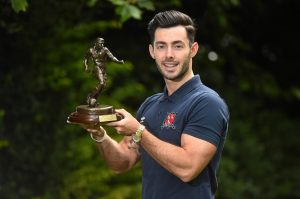 Richie Towell with his Player of the Month award, which he picked up in July
