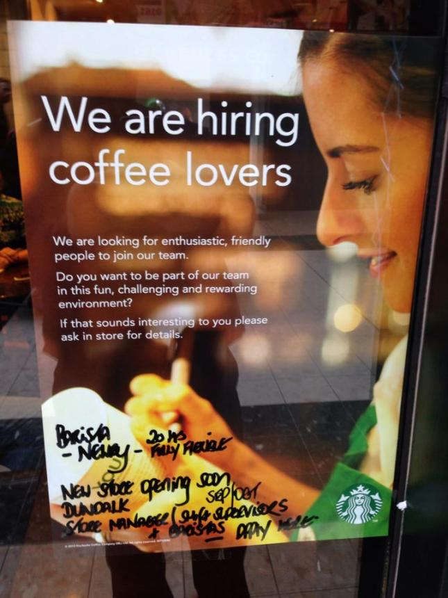The poster in the window of Starbucks in Newry