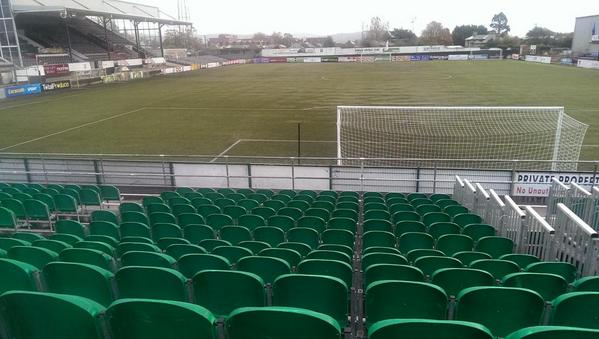 The view from the temporary stand erected behind the Carrick Road end goals at Oriel Park