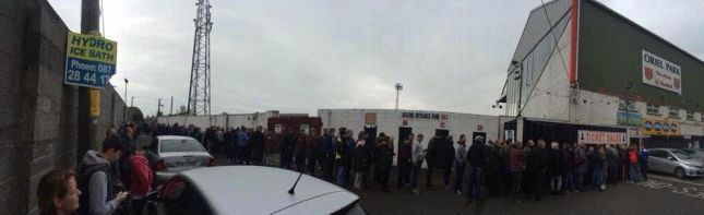 The queue outside Oriel Park today. Picture: Frank McGahon