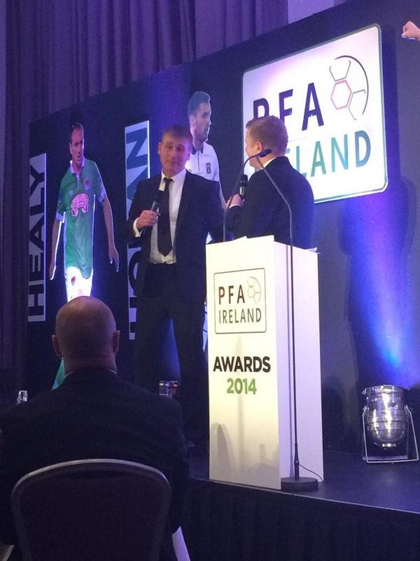 Stephen Kenny picked up his Manager of the Year award on Friday night at the PFAI Awards