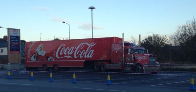The Coca Cola truck parked at Tesco Extra this morning