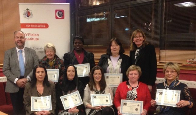 Graduates from a recent night class in O Fiaich. Back row - left to right: Padraig McGovern (Principal), Jean Watters, Damilola Rhoda Ogobamidele, Rita McDonagh, Sadie Ward McDermott (Adult Education Officer LMETB). Front Row - left to right: Gabrielle Renaghan, Eileen Carroll Pickering, Martina Carragher, Amy Gilligan, Claire McGlew