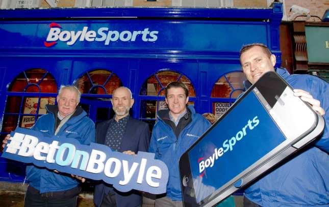 Soccer pundit Eamonn Dunphy, Boylesports owner John Boyle, jockey Barry Geraghty and former Dublin GAA star Ciaran Whelan at the launch of the new Boylesports brand identity in Dublin earlier this week