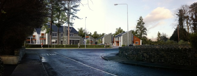 An artist's impression of how The Towers will look from the Red Barns Road