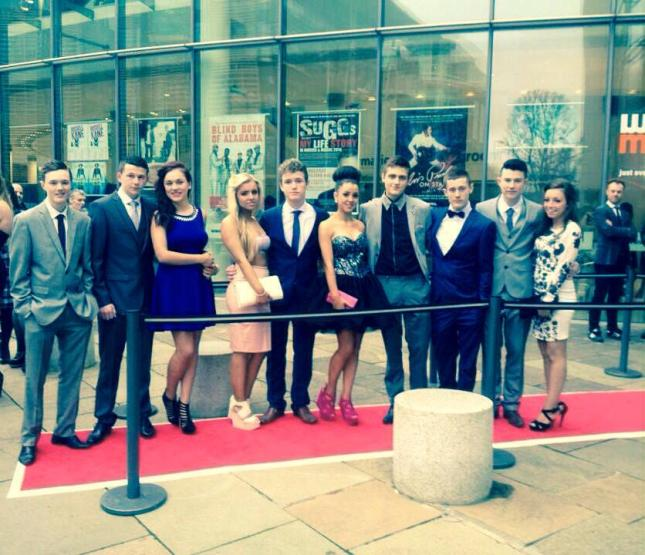 Members of the Craóbh Rua Youth Project on the red carpet at the premiere of their film Escape Plans