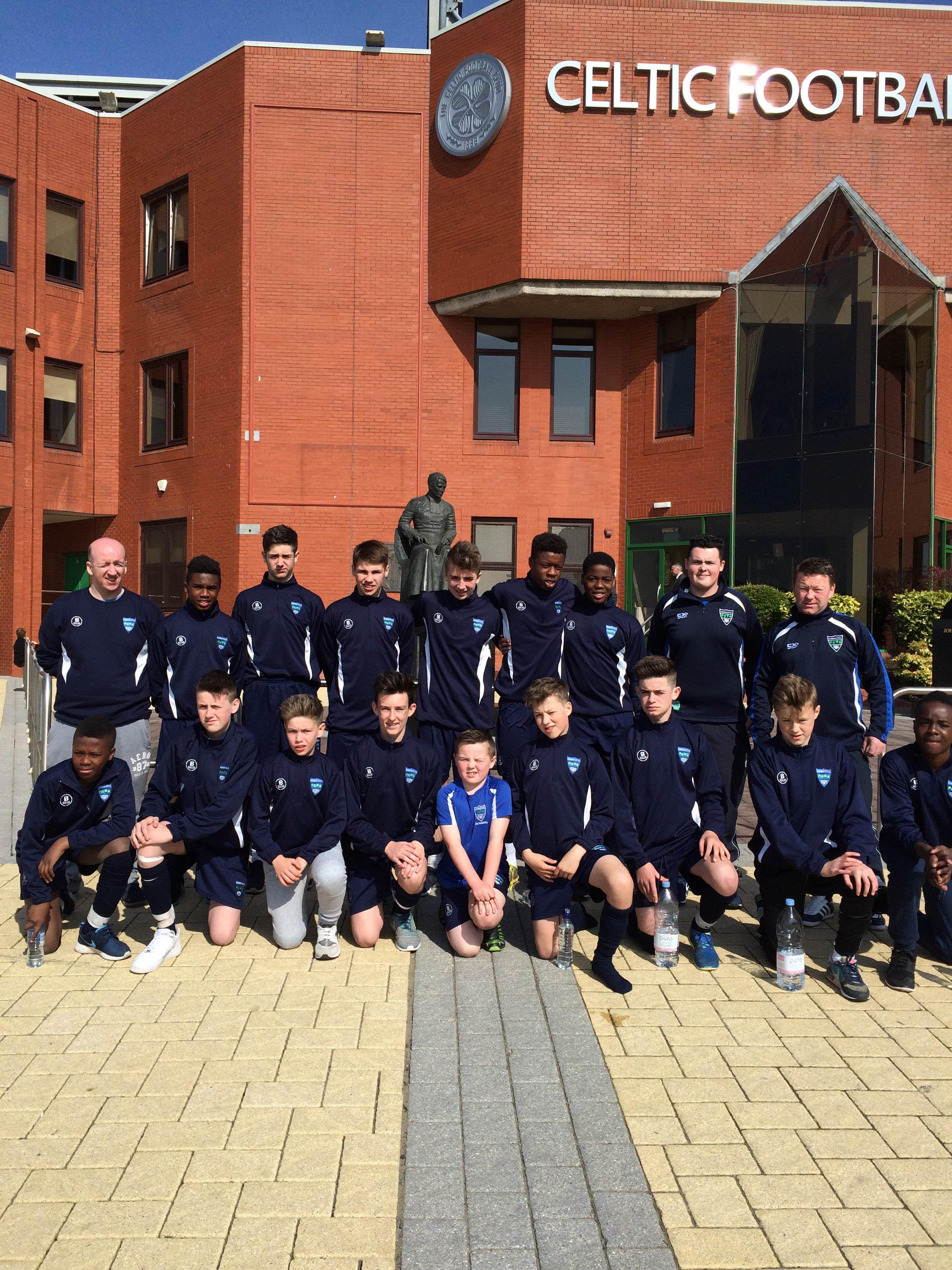 The Glenmuir team and their coaches outside Celtic Park