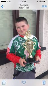 Aaron Trainer with his second place trophy from the Under 12s event in Bohermeen on Sunday