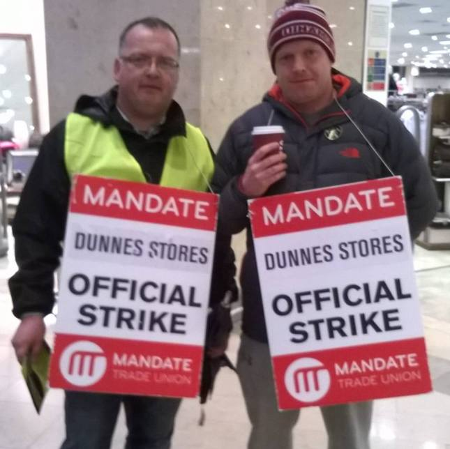 Tony Malone (right) on the picket line last week with Mandate's local rep John Callan