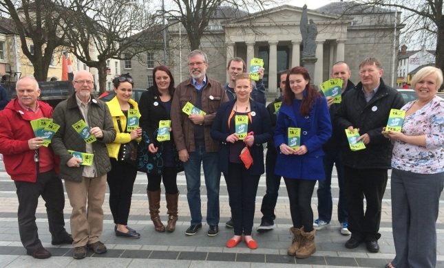 Gerry Adams with Sinn Féin councillors and activists at today's Yes campaign launch in the Market Square