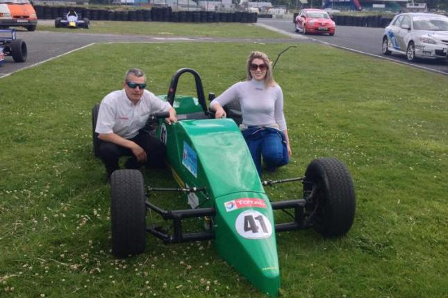 Aimee with her new car and Modello Chief Instructor Ken Elliott