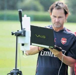 Alan Clarke of StatSports pictured working with Arsenal