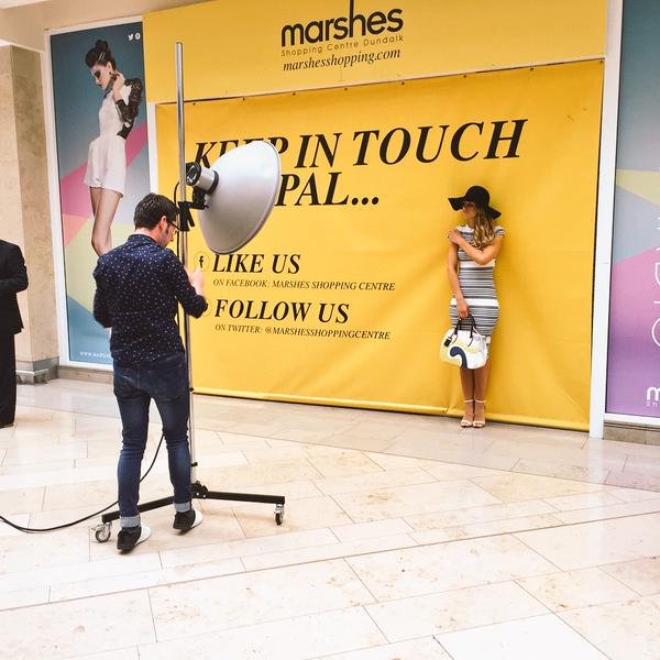 Vogue Williams doing publicity photographs at the Marshes Shopping Centre yesterday