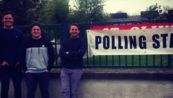 Cllr John McGahon (right) with Cillian and Gearoid McDonald after they voted in Carlingford