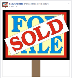 The Fairways Hotel page put up a sold sign this morning