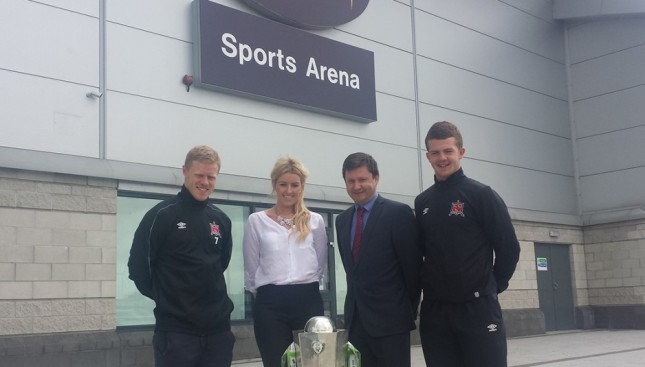 Dundalk FC duo Daryl Horgan and Ciaran O'Connor at the launch of DKIT Sport yesterday with manager Kelly Gaffney and DKIT president Denis Cummins