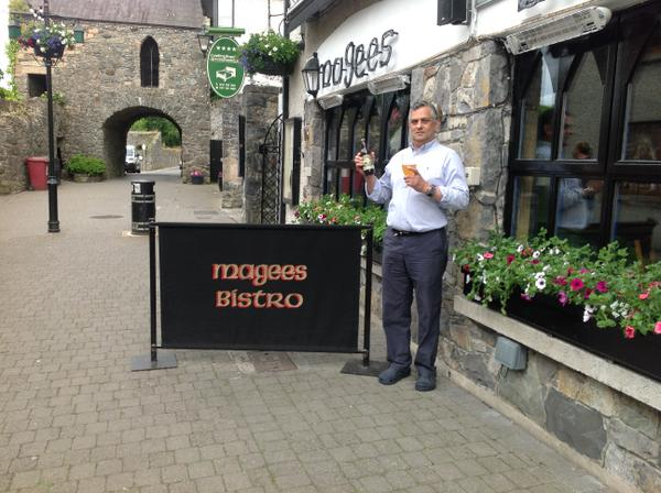 Denis Crompton, Chef/Owner of Magees Bistro, on Tholsel Street, welcoming the Tholsel Blonde to his menu