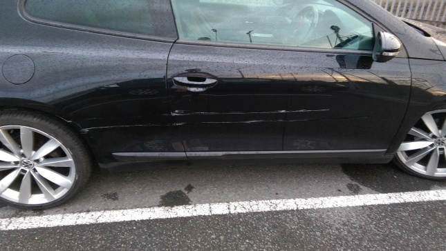 The side of David's car after the incident at the train station on Thursday