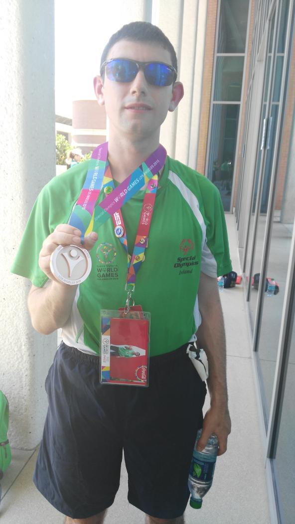 James with his medal