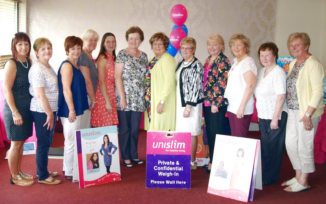 At the Unislim awards last week were from left: BB Lally, Jean Campbell, Marian Gill, Anna McKeever, Rosemary Long, Ailish Markey, Mary McArdle (Group Leader), Bridie Mahan, Teresa McGuinness, Anne McArdle, Patsy Hearty and Lima Conachy. Missing from photo were Patrice McBride, Sylvia Coburn and Breege McCabe.