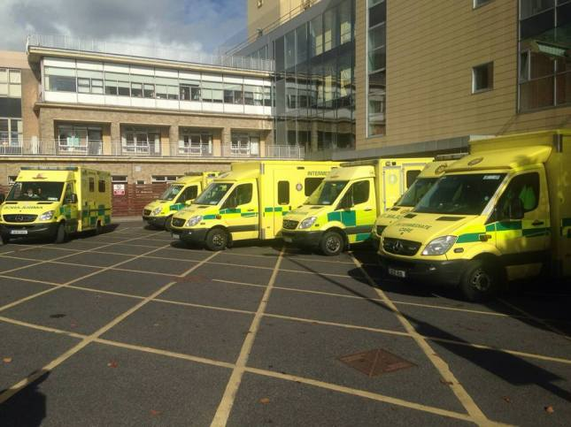 Some of the ambulances that were backed up at Our Lady of Lourdes Hospital in Drogheda earlier this week