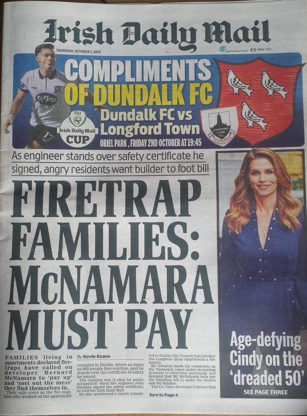 The front page of today's Irish Daily Mail