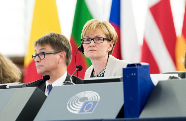 Mairead McGuinness in the European Parliament in Strasbourg